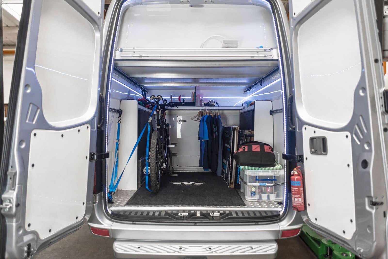 Storage area of a van conversions Scotland