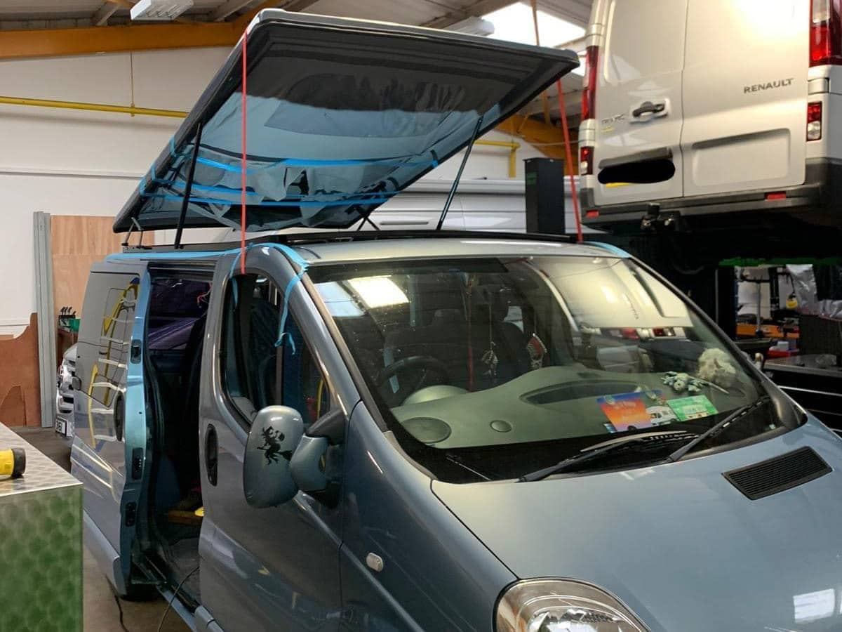 A pop top conversion being installed at our workshop