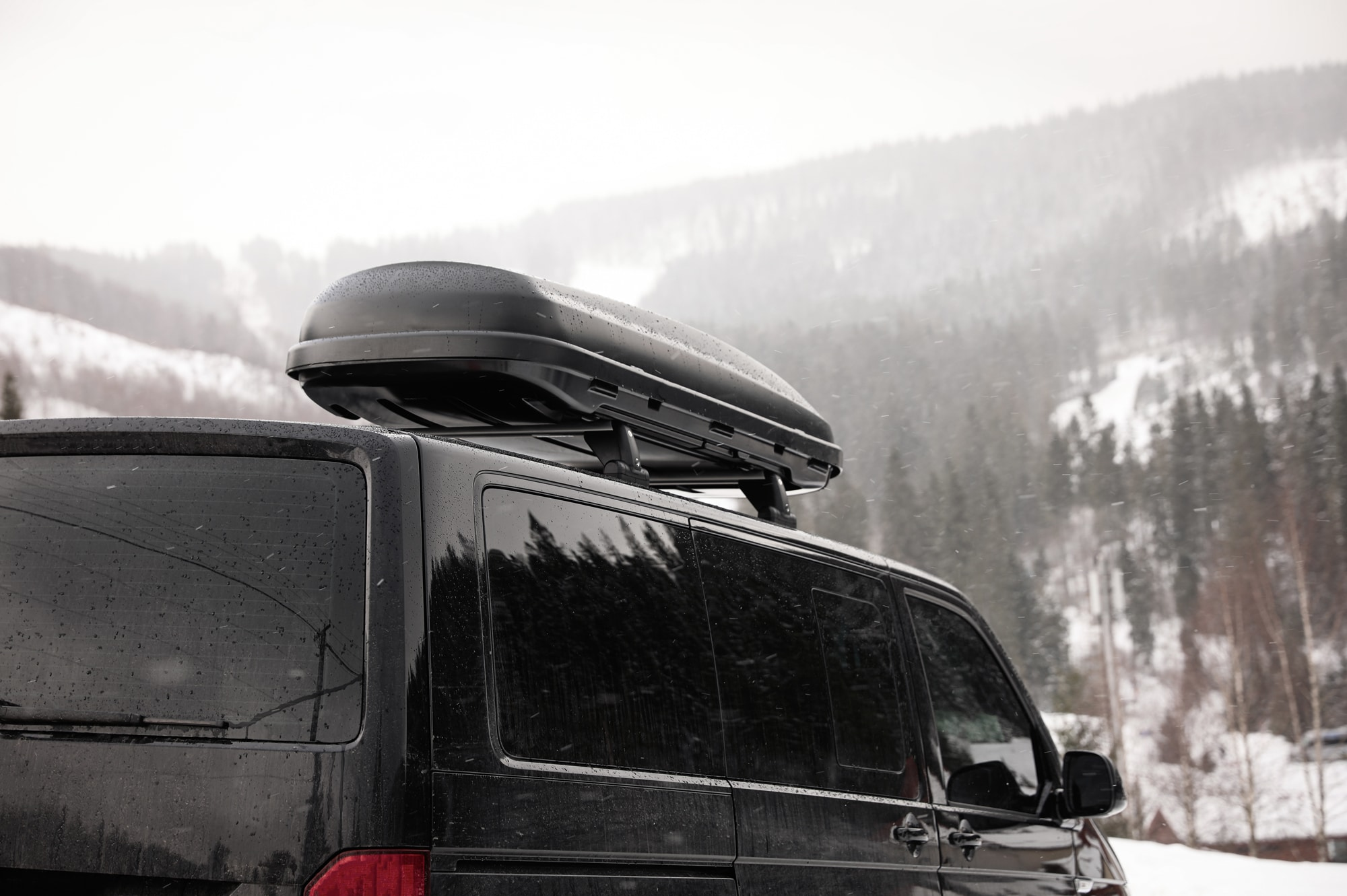 An image of a campervan in the snow camper conversions Scotland