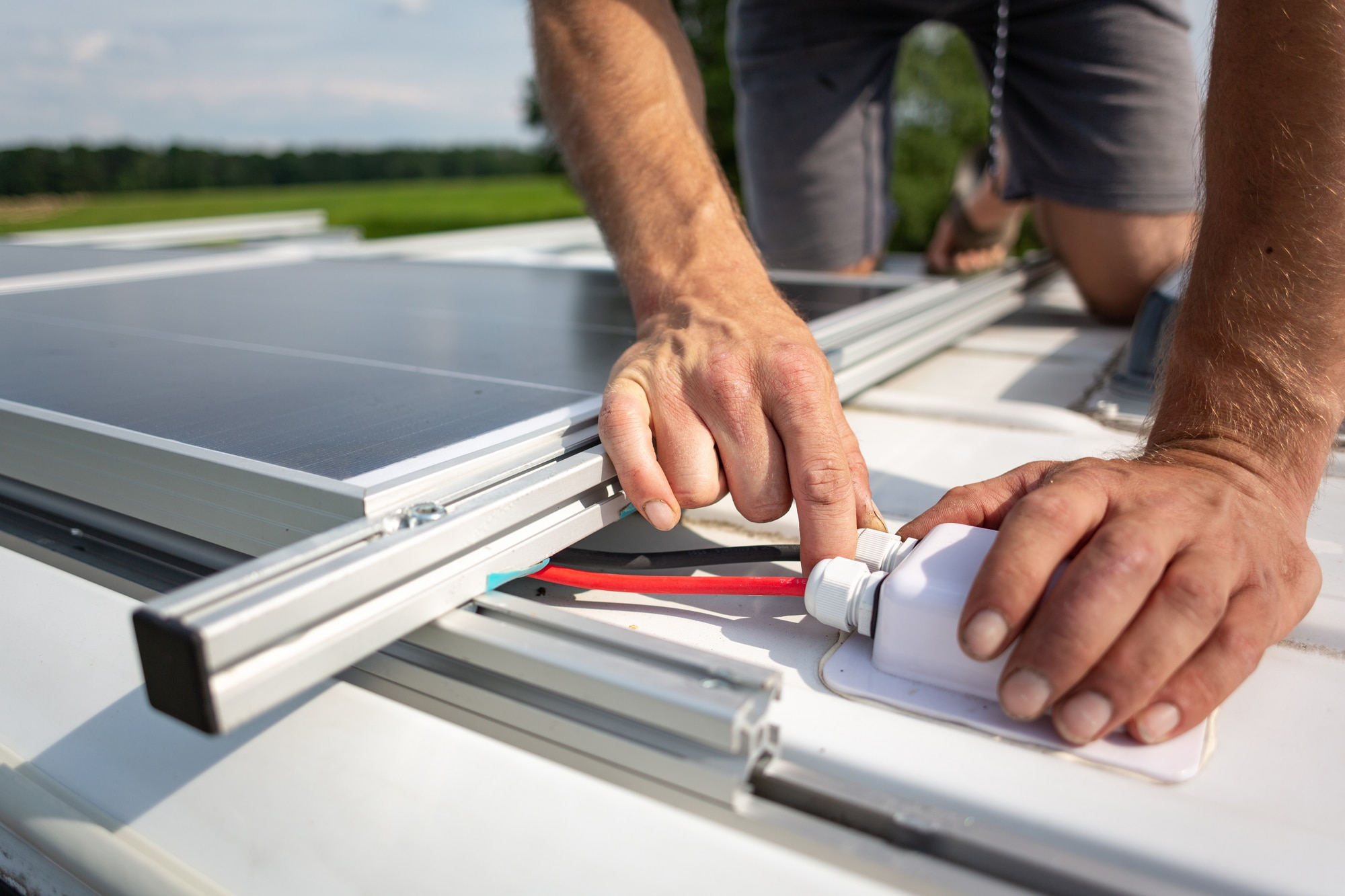Solar panel up close - campervan solar panel fitting Scotland